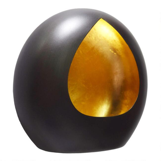 Black And Gold Teardrop Tealight Candleholder