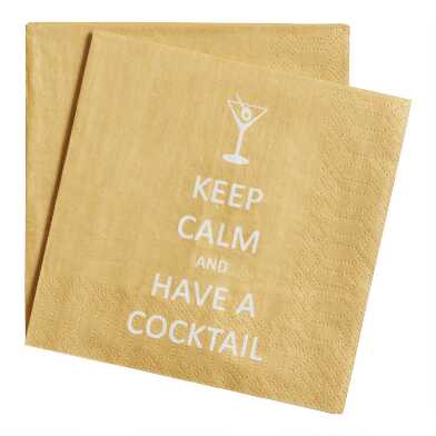 20 Count Keep Calm Cocktail Beverage Napkins Set of 2