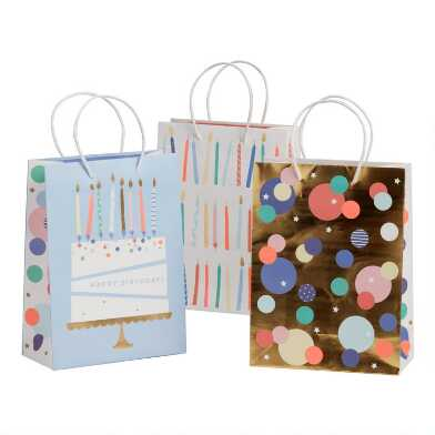 3 Pack Medium Birthday Cake and Candles Gift Bags Set of 2