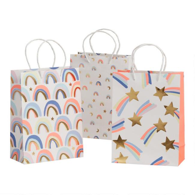 3 Pack Medium Stars and Rainbows Gift Bags Set of 2