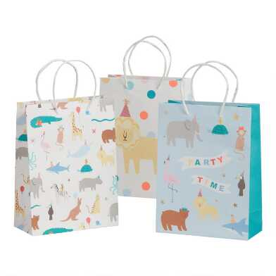 3 Pack Medium Animal Party Kraft Gift Bags Set of 2