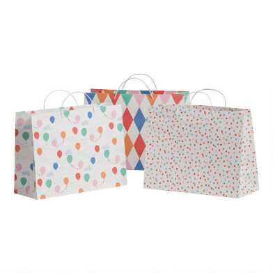 3 Pack Large Dots and Balloons Kraft Gift Bags Set of 2