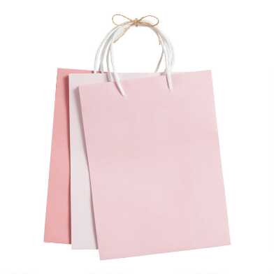 3 Pack Medium Pink Kraft Paper Gift Bags Set of 2
