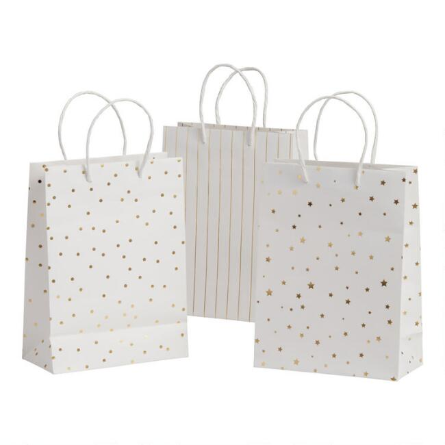 3 Pack Medium White and Gold Kraft Paper Gift Bags Set of 2