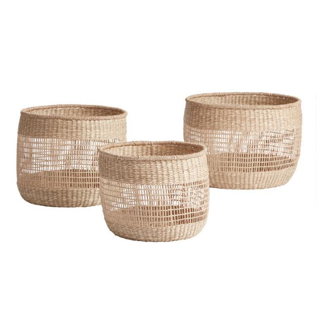 Natural Seagrass Open Weave Dakota Basket