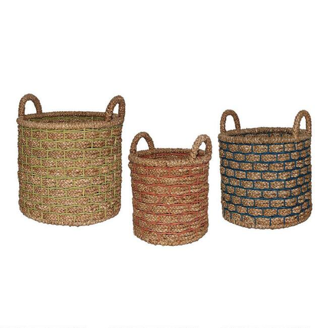 Natural Hyacinth Presley Tote Basket With Color Overlay