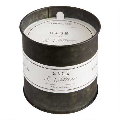 Sage And Black Vetiver Antique Oil Tin Filled Candle