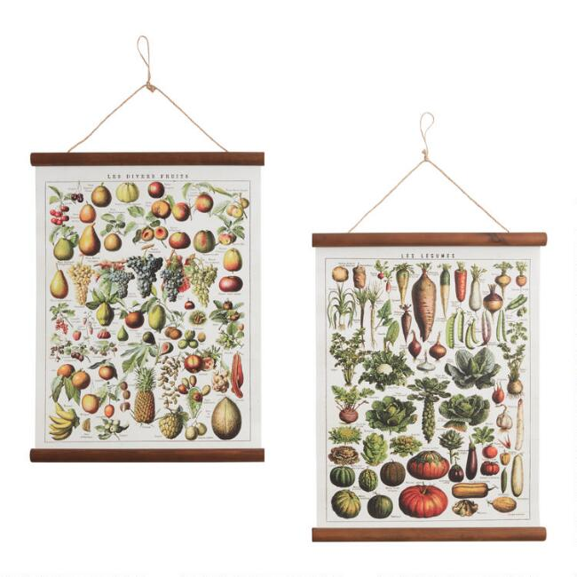 Fruit And Vegetable Linen Scroll Wall Hangings Set of 2