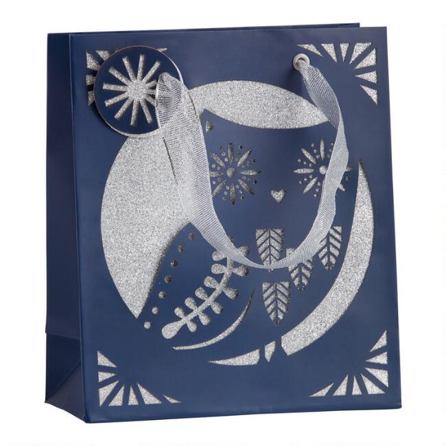 Small Laser Cut Owl Holiday Gift Bag Set Of 2