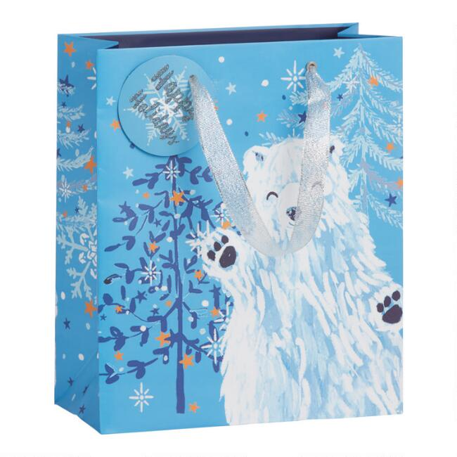 Medium Glittering Polar Bear Holiday Gift Bag