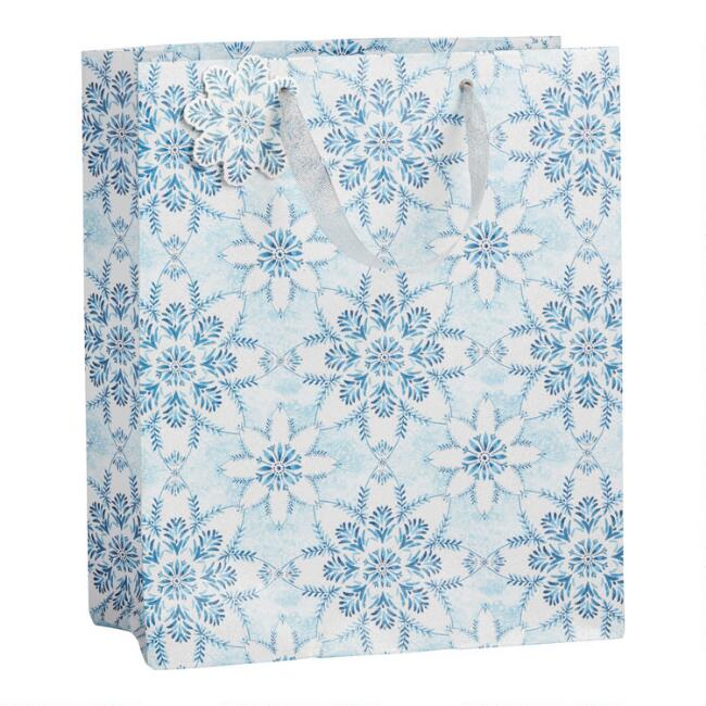 Large Glittering Snowflakes Holiday Gift Bag