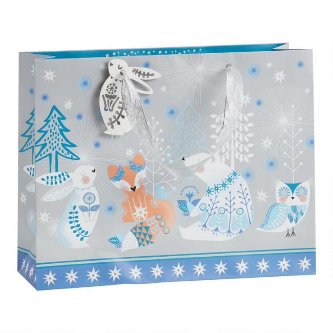 Large Glittering Arctic Animals Holiday Gift Bag