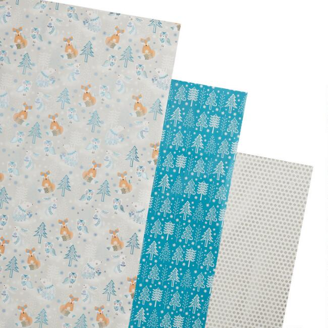 Blue And Silver Arctic Holiday Wrapping Paper Rolls 3 Pack