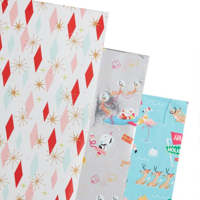 Pop Party Holiday Wrapping Paper Rolls 3 Pack