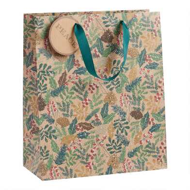 Large Glittering Pine Bough Kraft Holiday Gift Bag