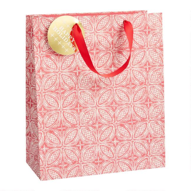 Large Red And White Pinecone Holiday Gift Bag