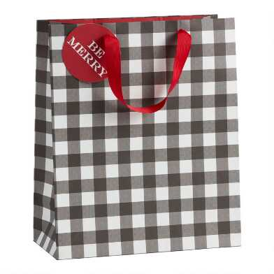 Large Black And White Buffalo Plaid Holiday Gift Bag