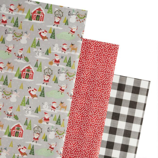 Plaid And Sledding Santa Holiday Wrapping Paper Rolls 3 Pack