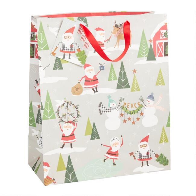 Jumbo Homestead Santa Holiday Gift Bag