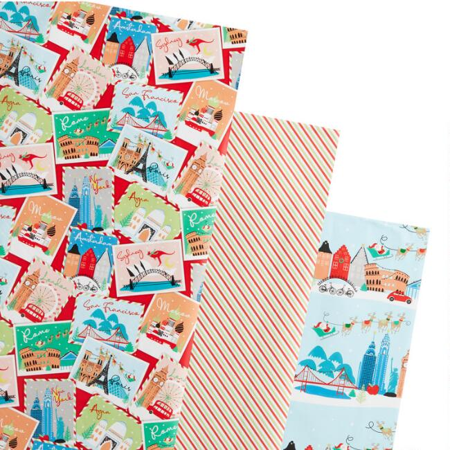 Stripes And Stamps Holiday Wrapping Paper Rolls 3 Pack
