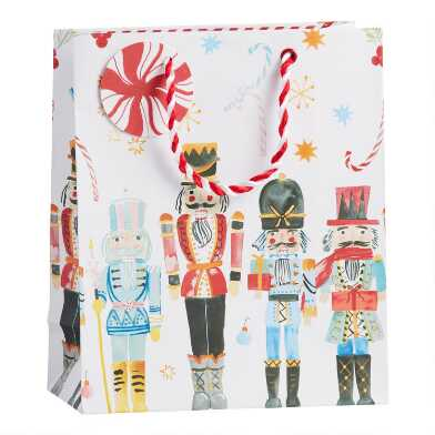 Medium White Nutcrackers Holiday Gift Bag