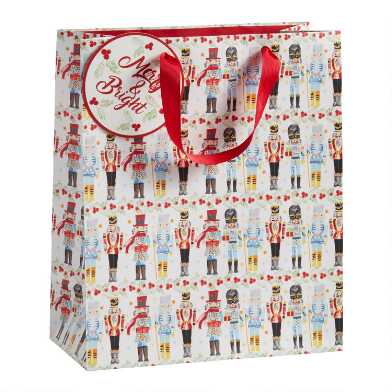 Large White Nutcrackers Holiday Gift Bag
