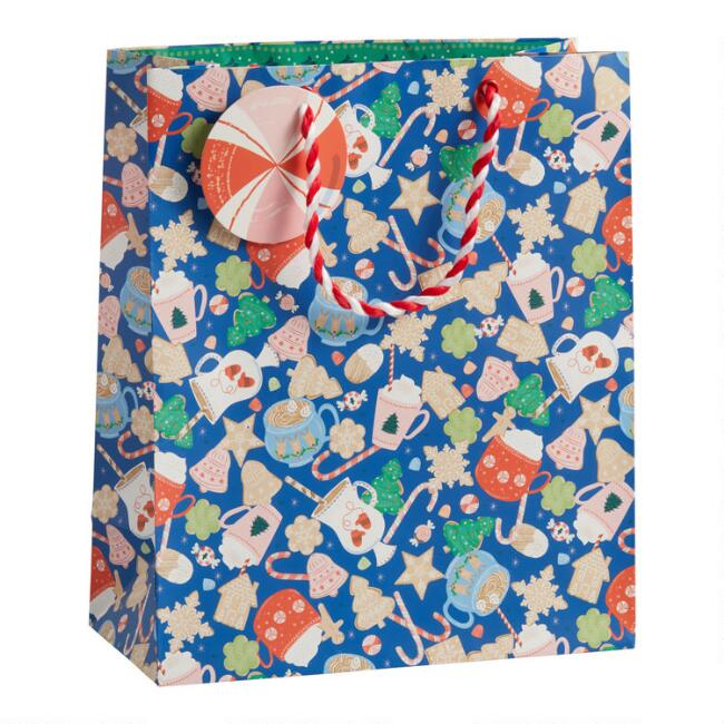 Large Blue Sugar Cookie Holiday Gift Bag