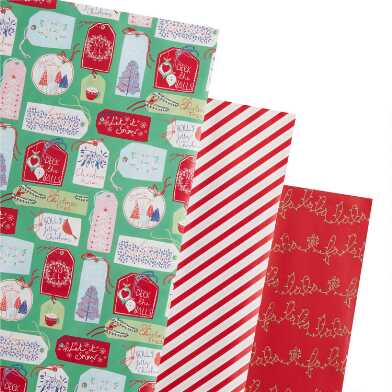 Red Stripes And Fa La La Holiday Wrapping Paper Rolls 3 Pack