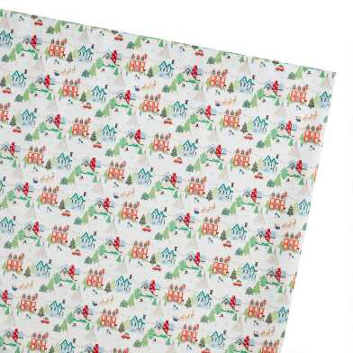 Jolly Christmas Houses Holiday Wrapping Paper Roll