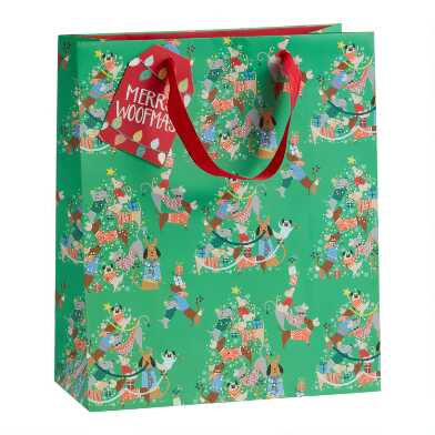 Large Green Festive Dogs Holiday Gift Bag