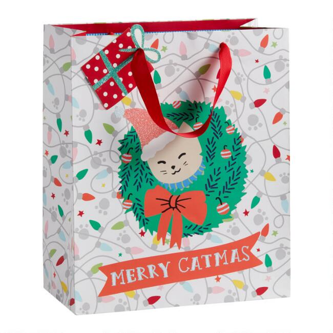 Large Merry Catmas Holiday Gift Bag