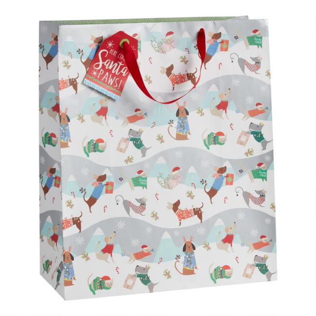 Jumbo Festive Cats And Dogs Holiday Gift Bag