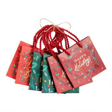 Mini Christmas Greetings Kraft Holiday Gift Bags 6 Pack