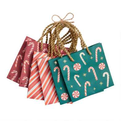 Mini Red And Green Candy Cane Kraft Holiday Gift Bags 6 Pack