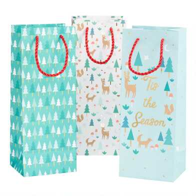 Aqua And Green Tis the Season Holiday Wine Bags 3 Pack