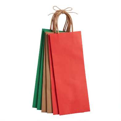 Red, Green And Natural Solid Holiday Wine Bags 6 Pack