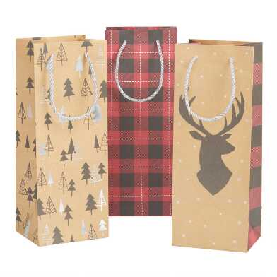 Buffalo Plaid And Stag Holiday Wine Bags 3 Pack