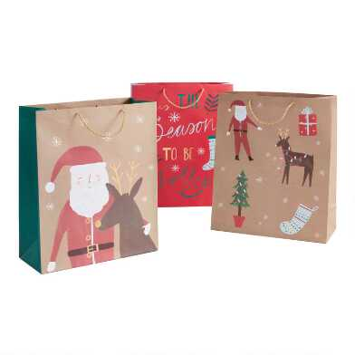 Jumbo Tis The Season To Be Jolly Holiday Gift Bags 3 Pack