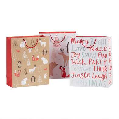 Jumbo Red And White Woodland Holiday Gift Bags 3 Pack