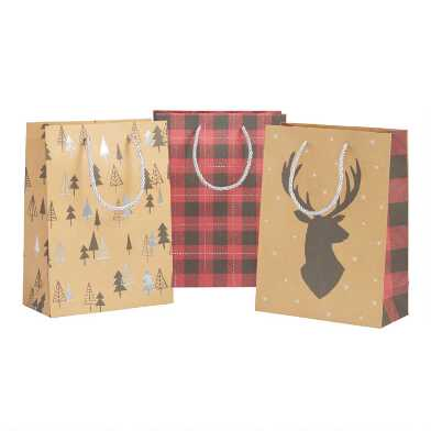 Medium Buffalo Plaid And Stag Holiday Gift Bags 3 Pack
