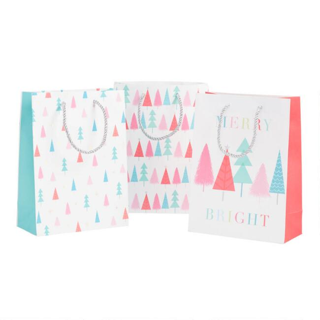 Medium Aqua and Pink Trees Holiday Gift Bags 3 Pack