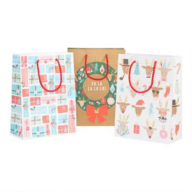 Medium Reindeer, Gifts And Fa La La Holiday Gift Bags 3 Pack