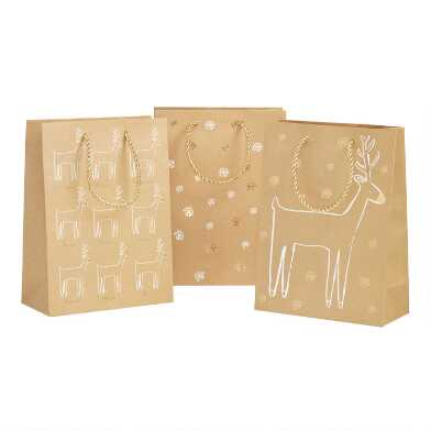 Medium Kraft Reindeer And Snowflake Holiday Gift Bags 3 Pack