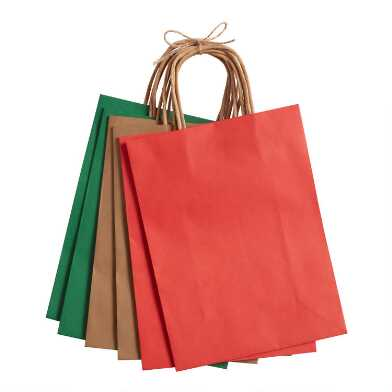 Medium Red, Green And Natural Solid Holiday Gift Bags 6 Pack