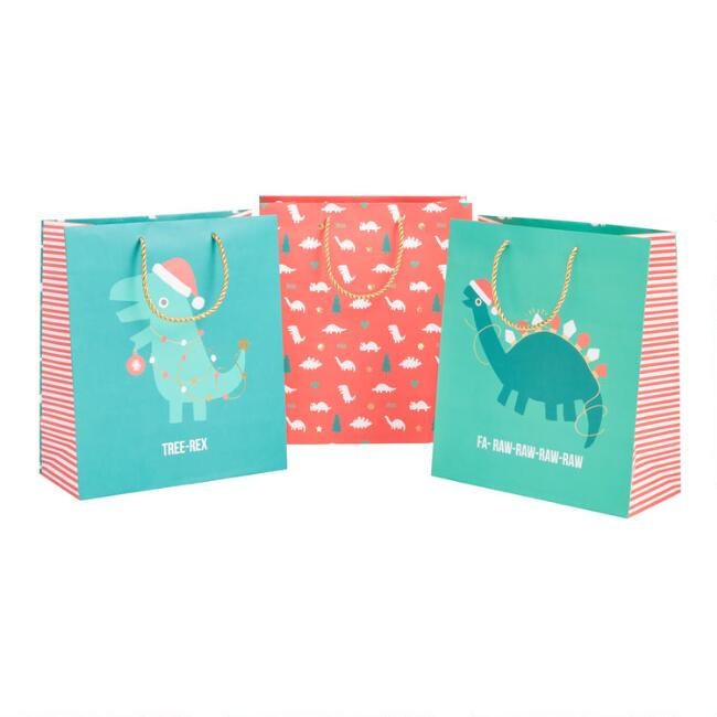 Large Red And Green Dinosaur Holiday Gift Bags 3 Pack