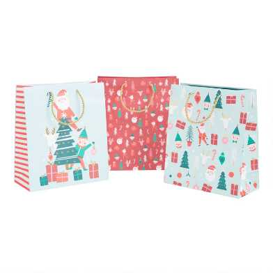 Large Santa, Elf And Tree Holiday Gift Bags 3 Pack