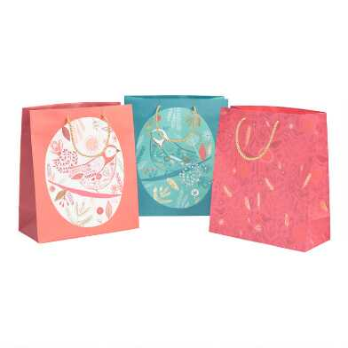Large Red And Green Birds Holiday Gift Bags 3 Pack