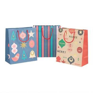 Large Jewel Tone Ornaments Holiday Gift Bags 3 Pack
