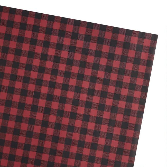 Red And Black Buffalo Plaid Holiday Wrapping Paper Sheets