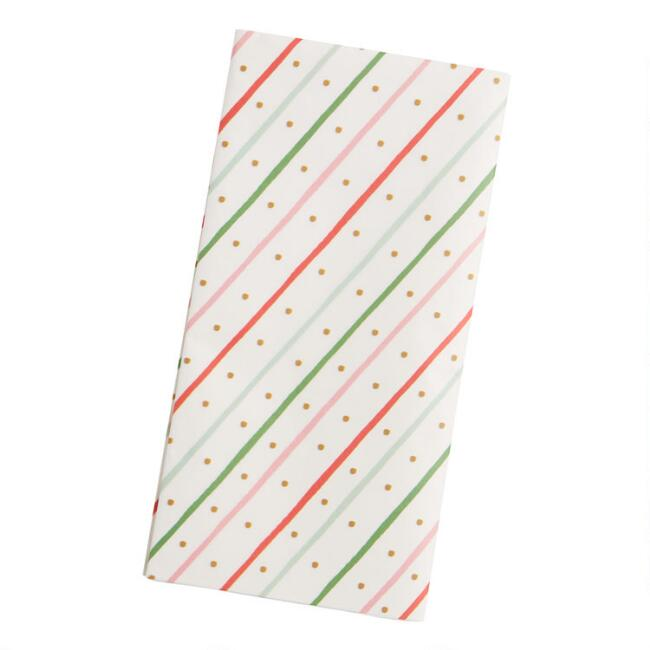 4 Pack Red, Aqua And Gold Stripe Tissue Paper Set Of 2